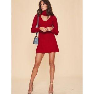 Revolve LPA 589 Sweater Knit Red Mini Dress
